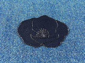 Нашивка мак бутон цвет темно синий