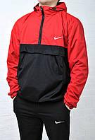Анорак мужской Найк Nike красный с черным  Anorak ветровка (реплика), фото 1