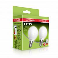 """Набор LED Ламп EUROLAMP ЕКО серия """"Е"""" G45 шар 5W E14 3000K Мультипак 1+1"""