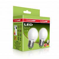 """Набор LED Ламп EUROLAMP ЕКО серия """"Е"""" G45 шар 5W E27 4000K Мультипак 1+1"""