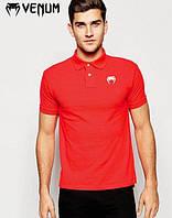 Футболка мужская поло с принтом  Venum Венум красная тенниска