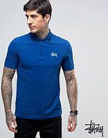 Мужская футболка поло с принтом  Stussy Стасси синяя тенниска