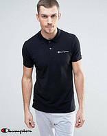 Качественная мужская черная футболка поло с принтом  Champion Чемпион тенниска (реплика)