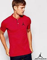 Хлопковая мужская красная футболка поло с принтом  Jordan Джордан тенниска