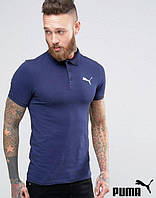 Поло футболка темно-синяя с принтом Puma Пума тенниска (реплика)