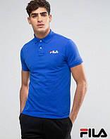 Спортивная мужская Футболка Поло Fila Фила мужская синяя с принтом (реплика)