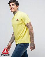 Мужская желтая стильная Футболка Поло с принтом Reebok Рибок тенниска