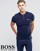 Поло футболка с принтом темно-синяя Boss Босс тенниска (реплика)