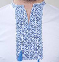 Вышитая мужская футболка с нежно-голубой вышивкой