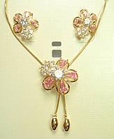 """Набір XP Позолота Сережки Кулон """"Квітковий Візерунок з Рожевими Кристалами"""" довжина 52-55 см, фото 1"""