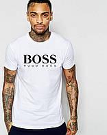 Футболка стильная мужская Boss Босс белая (большой принт) (реплика)