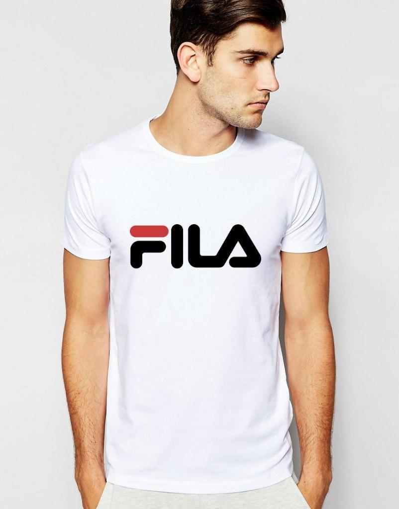 Мужская футболка белая Fila Фила (большой принт) (реплика)