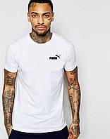 Мужская футболка белая Puma Пума (маленький принт) (реплика)