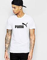 Футболка для парня белая Puma Пума (большой принт) (реплика)