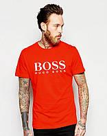 Футболка мужская модная Boss Босс красная (большой принт) (реплика)