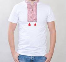 Белая мужская футболка с красной вышивкой
