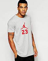 Футболка молодежная белая Jordan 23 Джордан (большой принт) (реплика)