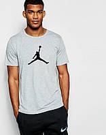 Молодежная футболка  серая Jordan Джордан (большой принт) (реплика)