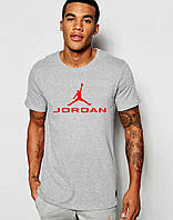 Мужская футболка  серая Jordan Джордан (большой принт) (реплика)