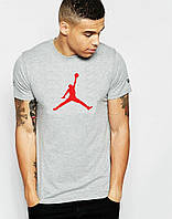 Модная футболка  серая Jordan Джордан (большой принт) (реплика)