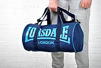 Сумка спортивная Lonsdale Barrel Bag (синий с голубым лого) (реплика)