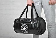 Модная сумка спортивная черная кожзам Converse Конверс (реплика)