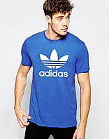Мужская футболка Adidas  Адидас синяя (большой принт) (реплика)