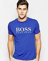Футболка мужская модная Boss Босс синяя (большой принт) (реплика)
