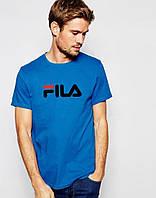 Модная футболка для парня синяя Fila Фила (большой принт) (реплика)