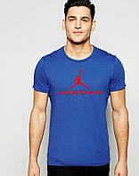 Молодежная футболка  синяя Jordan Джордан (большой принт) (реплика)