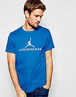 Мужская футболка  синяя Jordan Джордан (большой принт) (реплика)