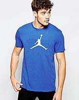 Модная футболка  синяя Jordan Джордан (большой принт) (реплика)