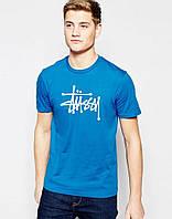 Мужская синяя футболка Stussy Стасси (большой принт) (реплика)