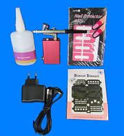 Аэрограф для ногтей полный набор с трафаретами и жидкостью для разбавления гель лака.