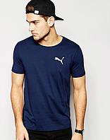 Мужская футболка темно синяя Puma Пума (маленький принт) (реплика)