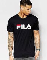 Модная футболка для парня черная Fila Фила (большой принт) (реплика)