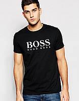 Стильная мужская футболка Boss Босс черная (большой принт) (реплика)