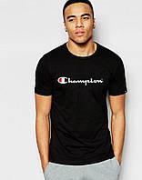 Модная черная футболка Champion Чемпион (большой принт) (реплика)