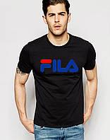 Футболка для парня черная Fila Фила (большой принт) (реплика)