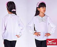 Стильная детская блузка в горошек