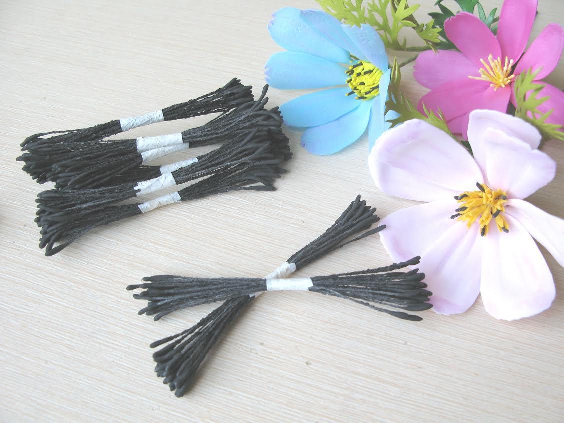Тайские реалистичные тычинки ручной работы! Черные длинные короткая нить. 25 ниток (50 головок)