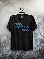 Молодежная футболка Adidas Адидас черная (большой принт) (реплика)