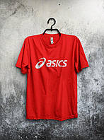Красная футболка Asics Асикс мужская (большой принт) (реплика)