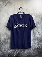 Качественная футболка Asics Асикс мужская темно синяя (большой принт) (реплика)