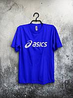 Мужская футболка Asics Асикс синяя (большой принт) (реплика)
