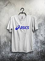 Футболка белая Asics Асикс мужская (большой принт) (реплика)