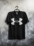 Стильная футболка Under Armour Андер Армор черная (большой принт) (реплика)