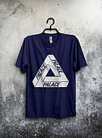 Мужская футболка Palace Палас темно синяя (большой принт) (реплика)