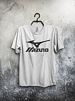 Качественная футболка Mizuno Мизуно белая (большой принт) (реплика)