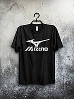 Футболка Mizuno Мизуно черная (большой принт) (реплика)